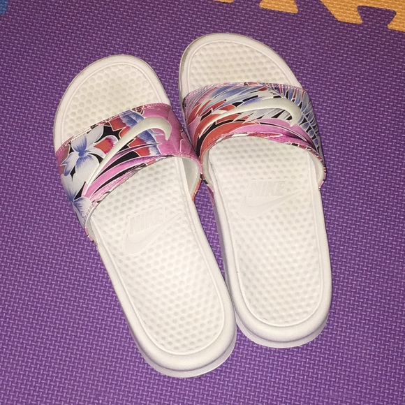 New Nike Slides Pink And Purple Palm
